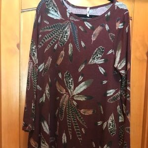 Tops - Maroon Feather Tunic
